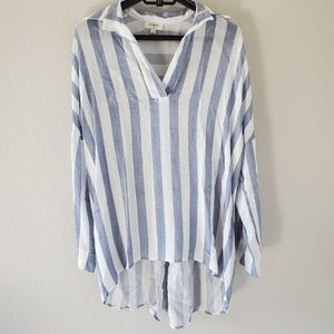 Umgee oversized pull over collared striped shirt